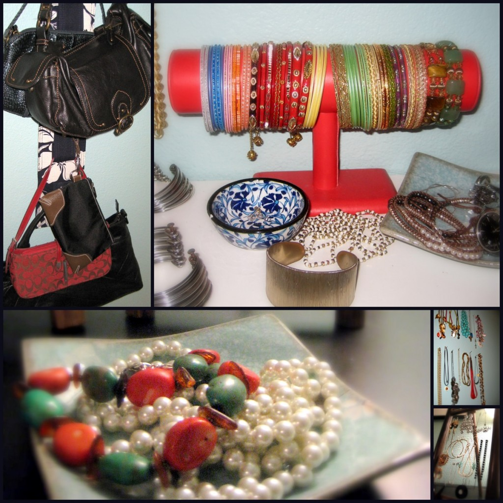collage of accessories, jewelry and purses