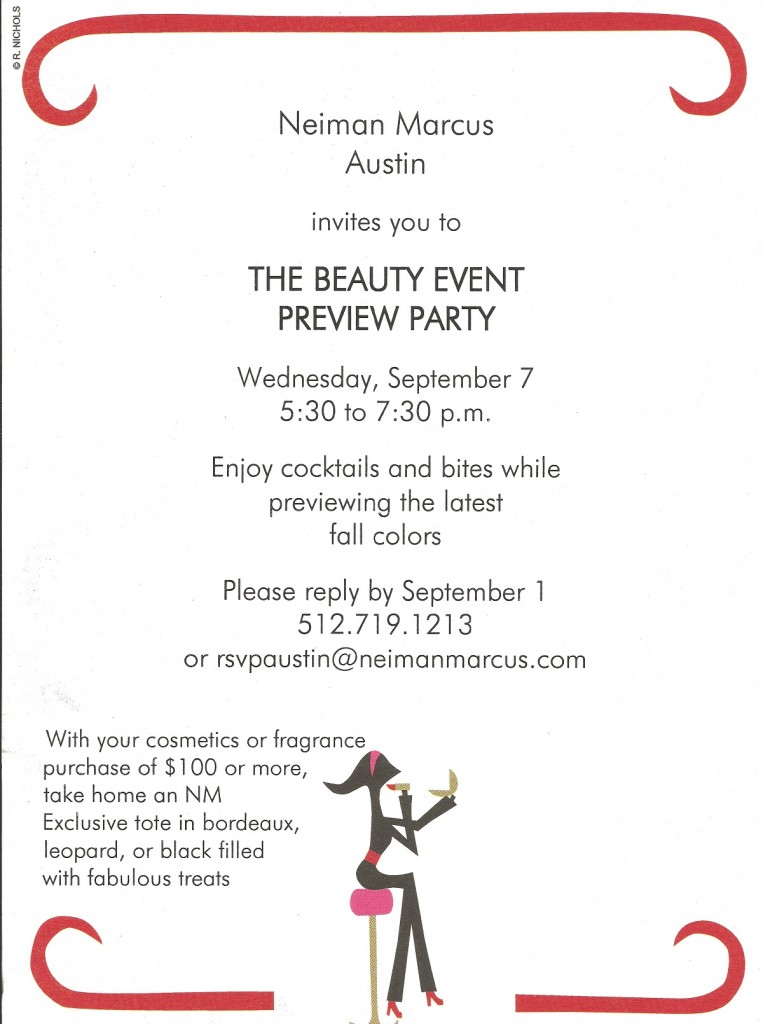 Neiman Marcus Beauty Event Preview Party invite