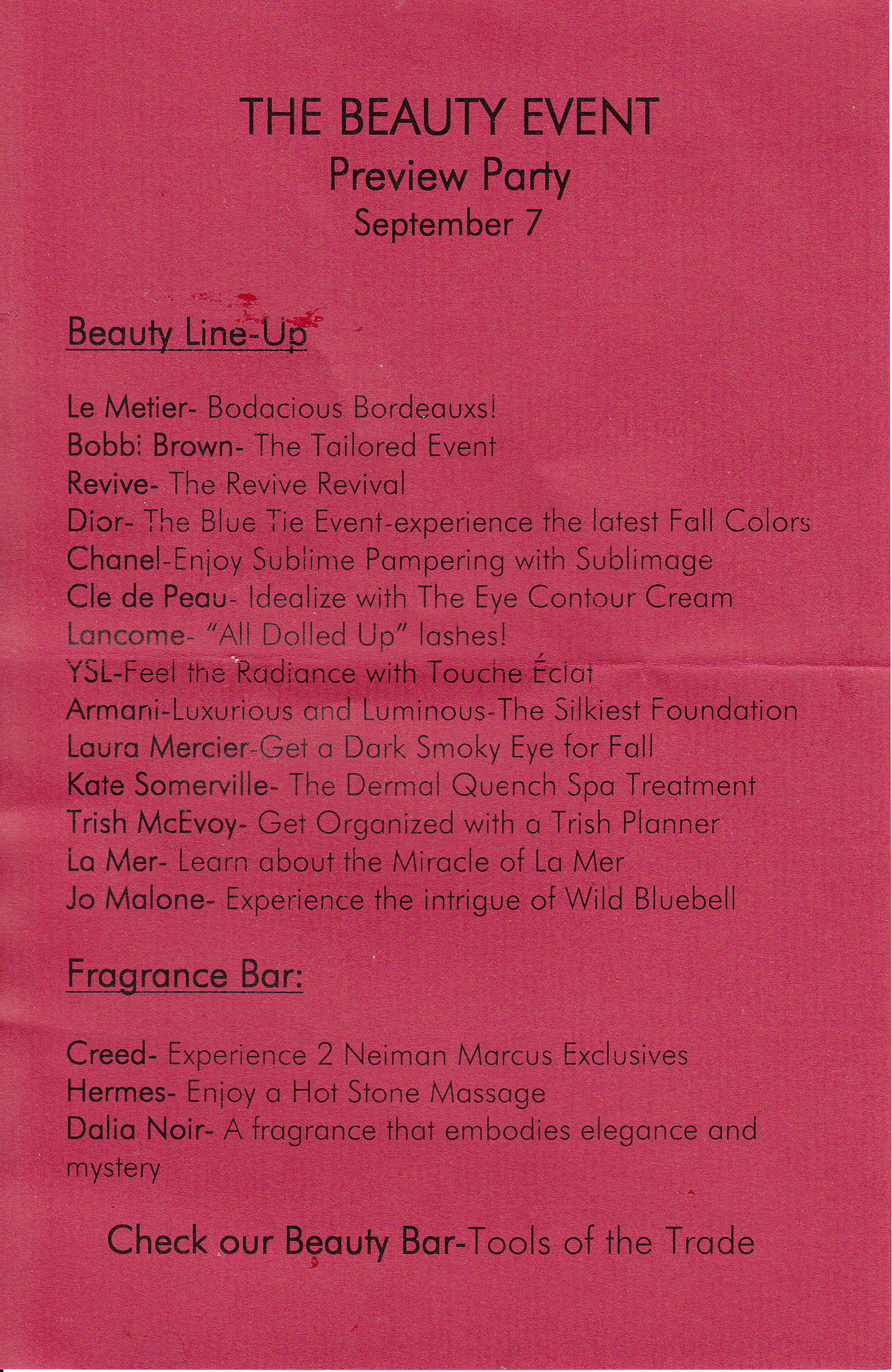 NM Fall Beauty Event Line Up