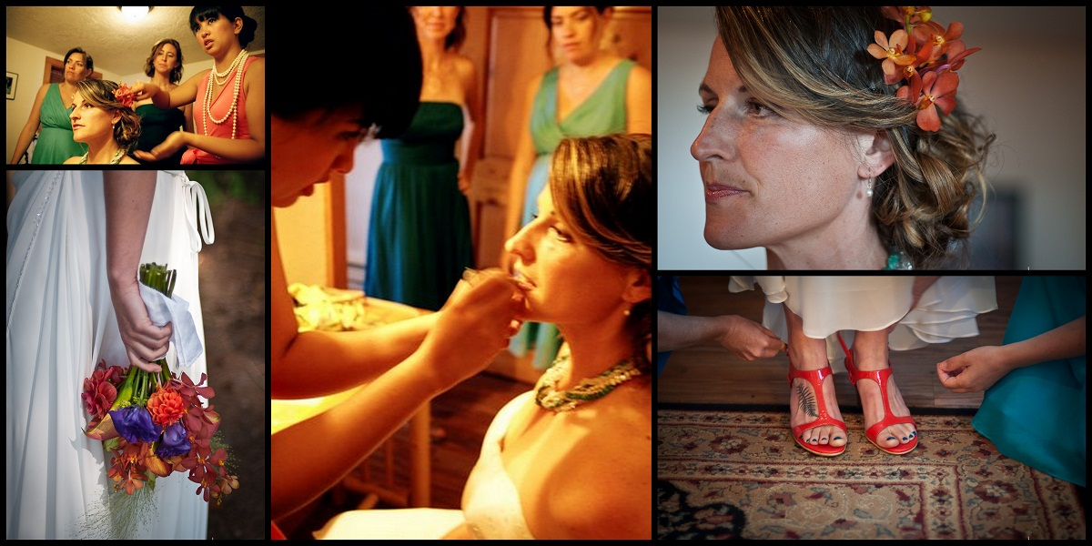 Collage of getting Jenn ready for her wedding
