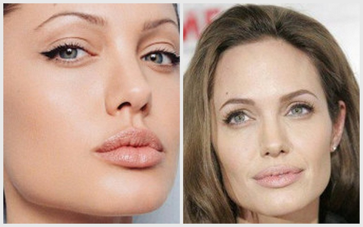 Angelina is older in the picture at right, but looks much prettier and more feminine than at left