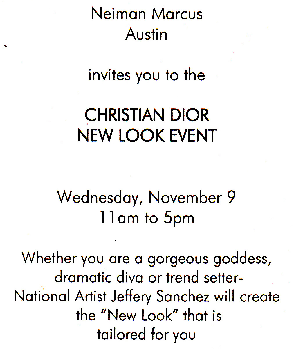 Invitation to Neiman Marcus Christian Dior New Look Event