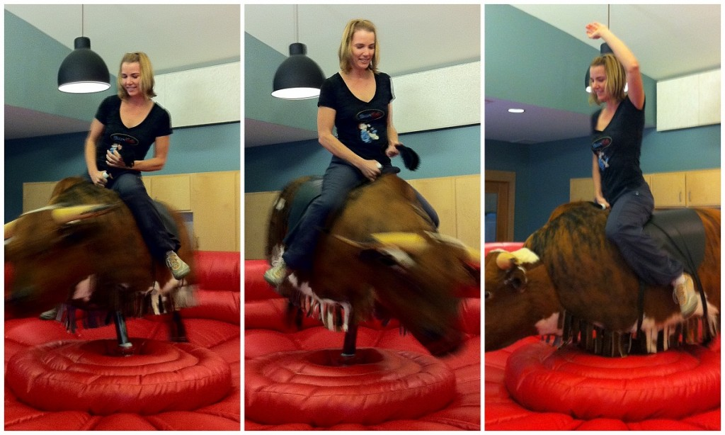 Wendy on Travaasa Austin's mechanical bull