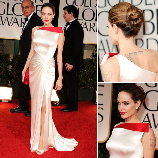 Angelina Jolie at the 2012 Golden Globes in Atelier Versace