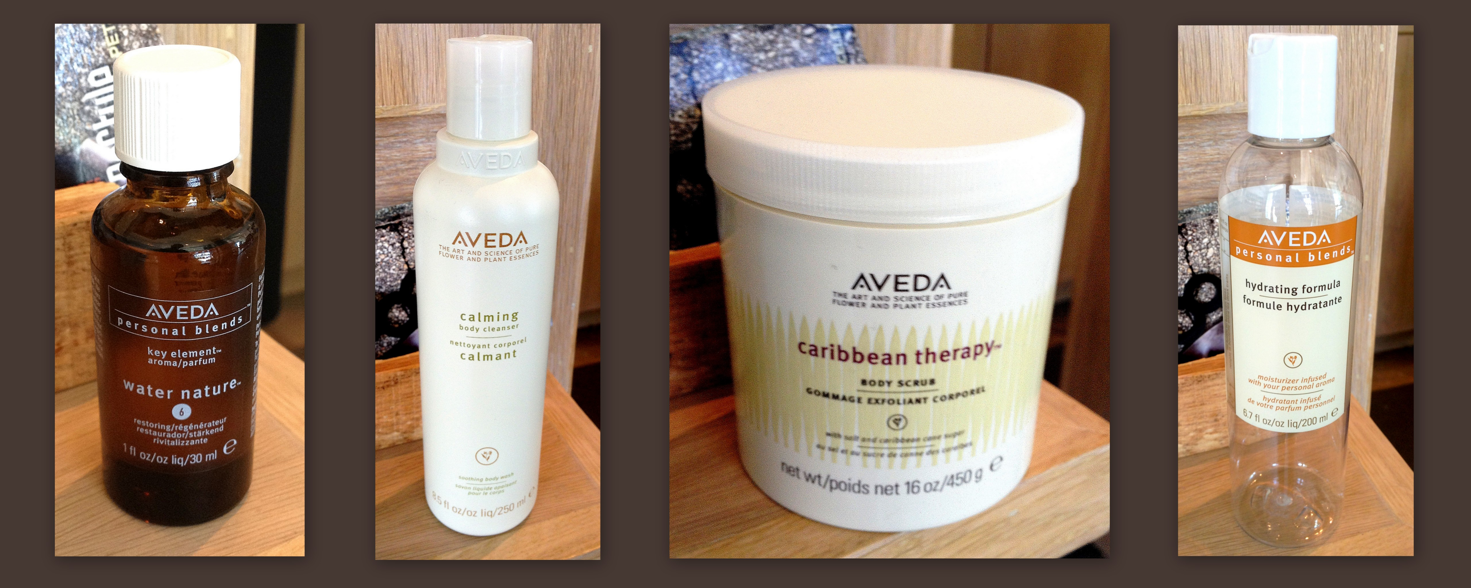 Collage of Aveda products used during Hiatus Spa body glow treatment