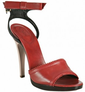 Chloe bow detail sandals in red leather and black patent