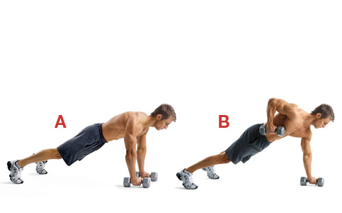 CrossFit Push-up with dumbbell row