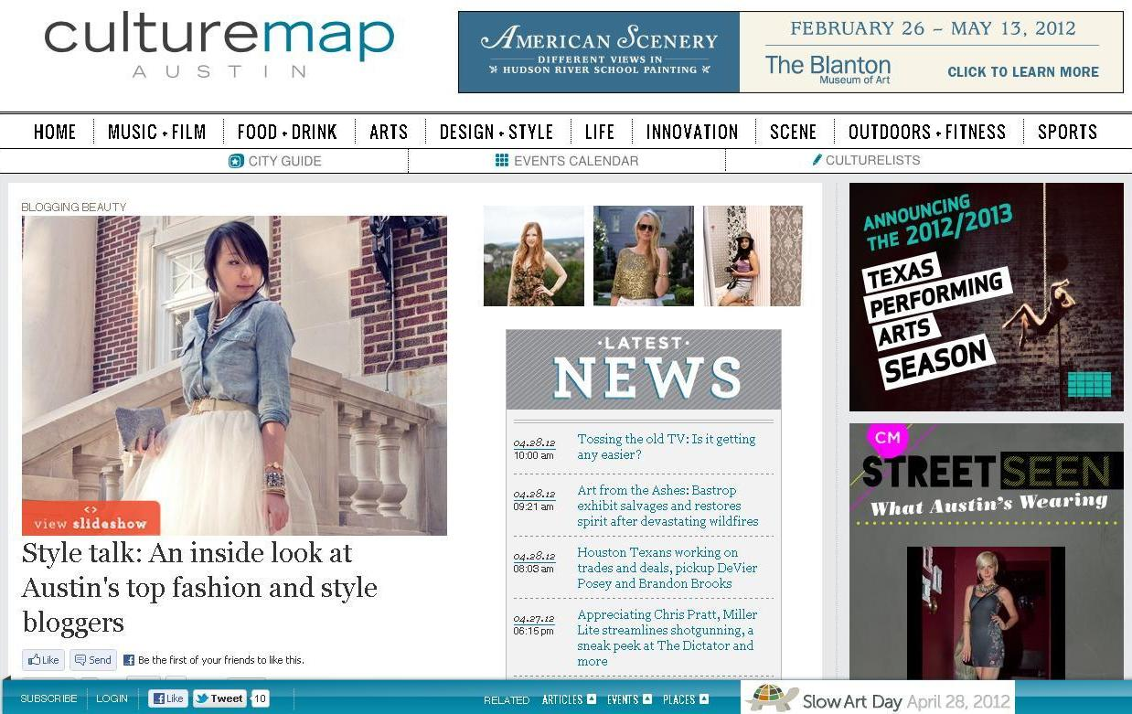 screenshot of CultureMap Austin article about fashion and style bloggers