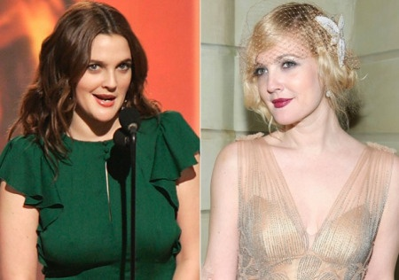 Drew Barrymore, before and after breast reduction surgery