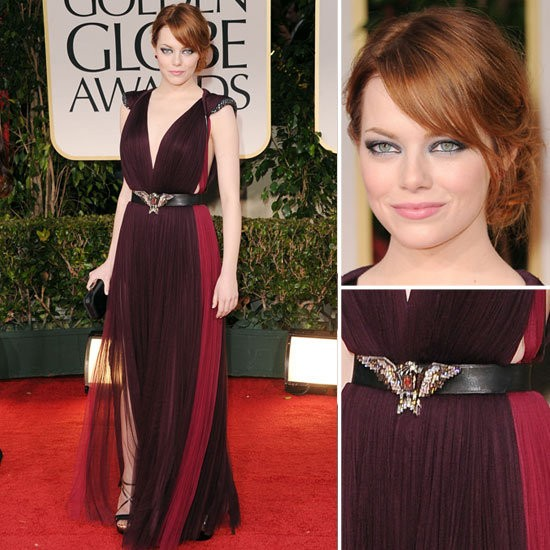 Emma Stone at the 2012 Golden Globes in Lanvin
