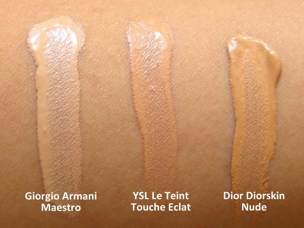 swatches of Giorgio Armani Maestro, YSL Le Teint Touche Eclat, Dior Diorskin Nude Fluid foundation