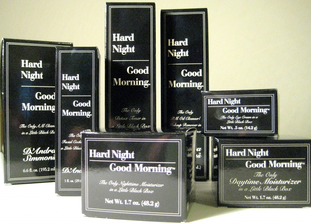 Hard Night Good Morning skincare products in original boxes