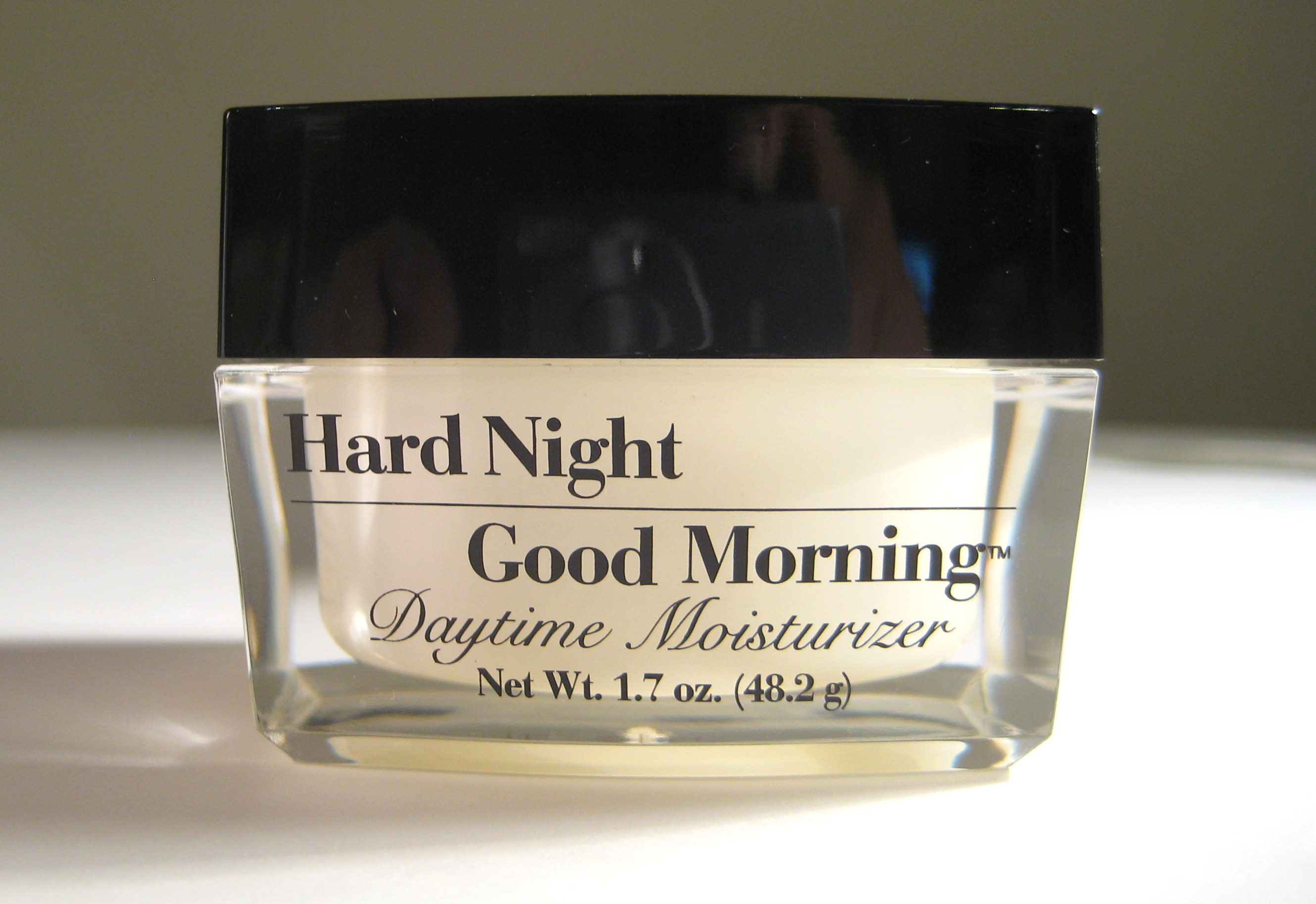 Hard Night Good Morning Daytime Moisturizer, closed jar, front view
