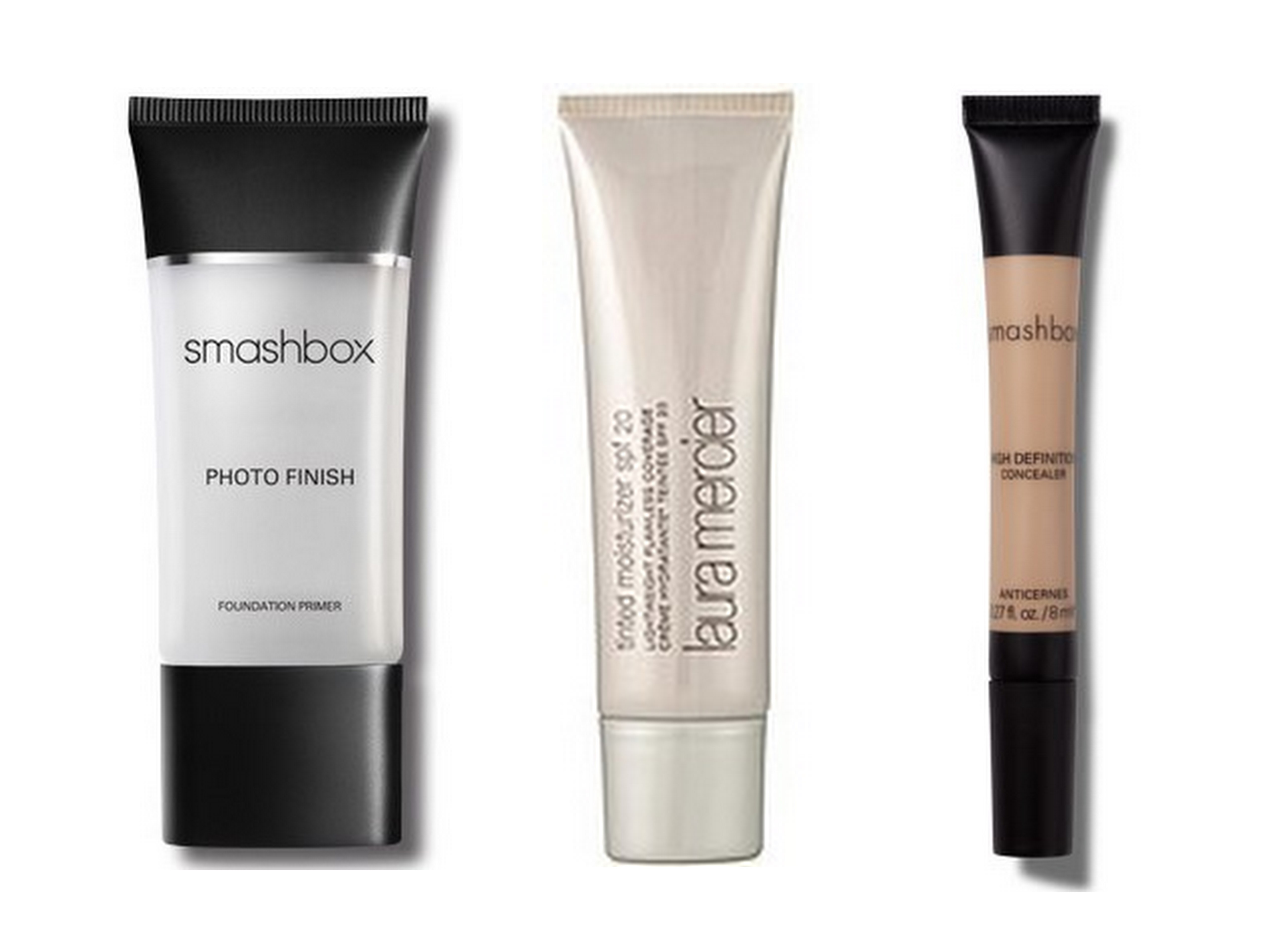Smashbox Photo Finish Primer and HD Concealer, Laura Mercier Tinted Moisturizer