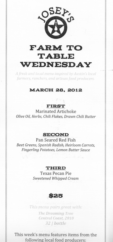 Farm to Table Wednesday Menu, March 28, 2012, Josey's at Lakeway Resort and Spa