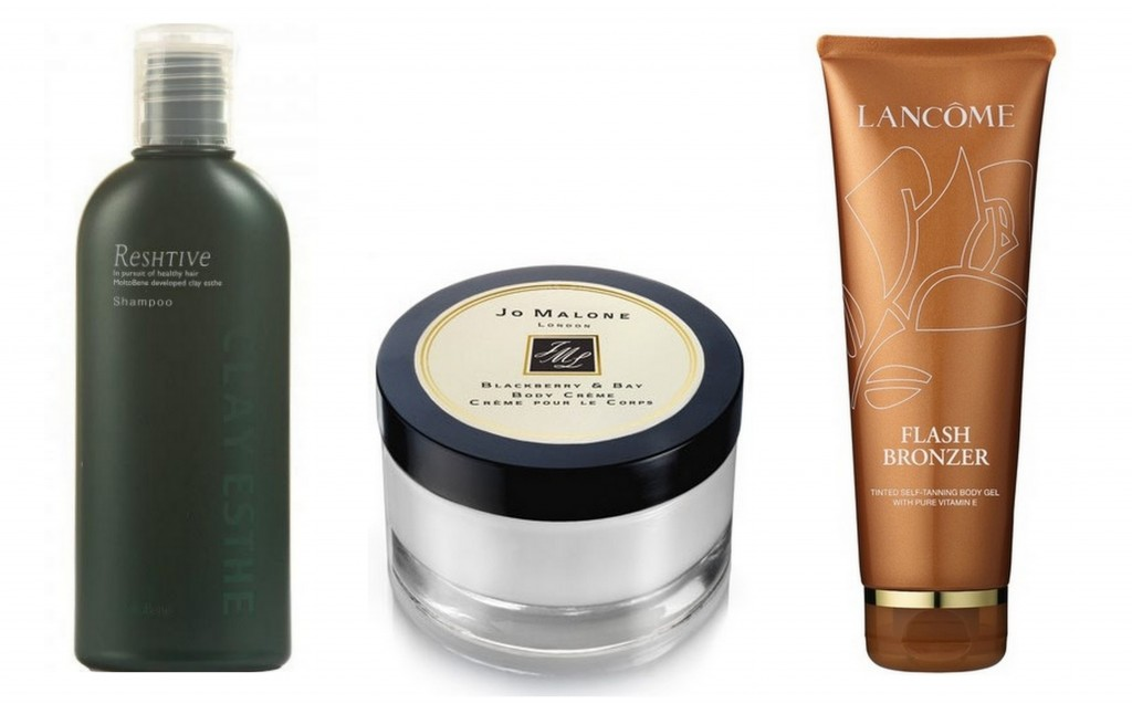 Favorite Products by Julia McCurley: Reshtive shampoo, Jo Malone Blackberry & Bay Body Creme, Lancome Flash Bronzer Body Gel