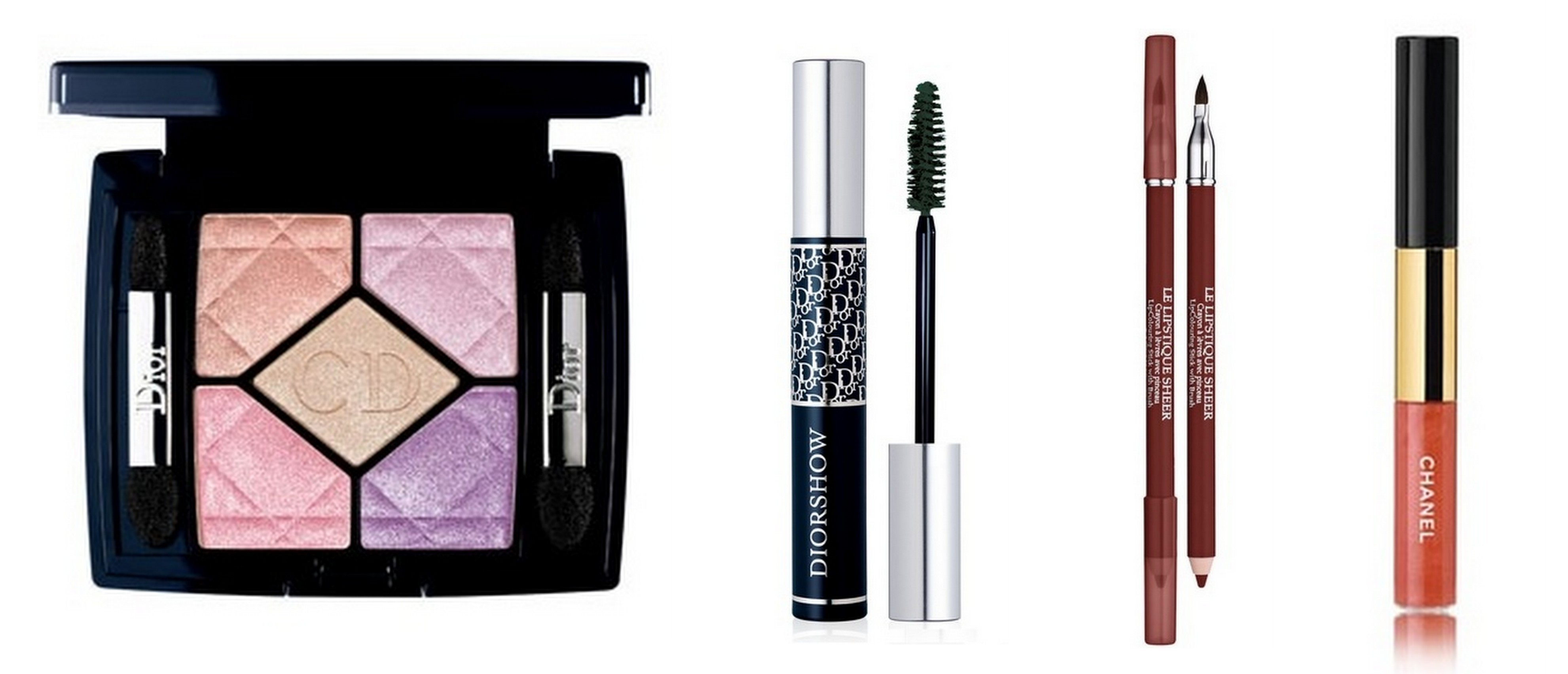 Favorite Products by Julia McCurley: Dior 5-Coulour Eyeshadow in Petal Shine, Dior Diorshow mascara, Lancome Le Lipstique, Chanel Rouge Double Intensite Ultra Wear Lip Color