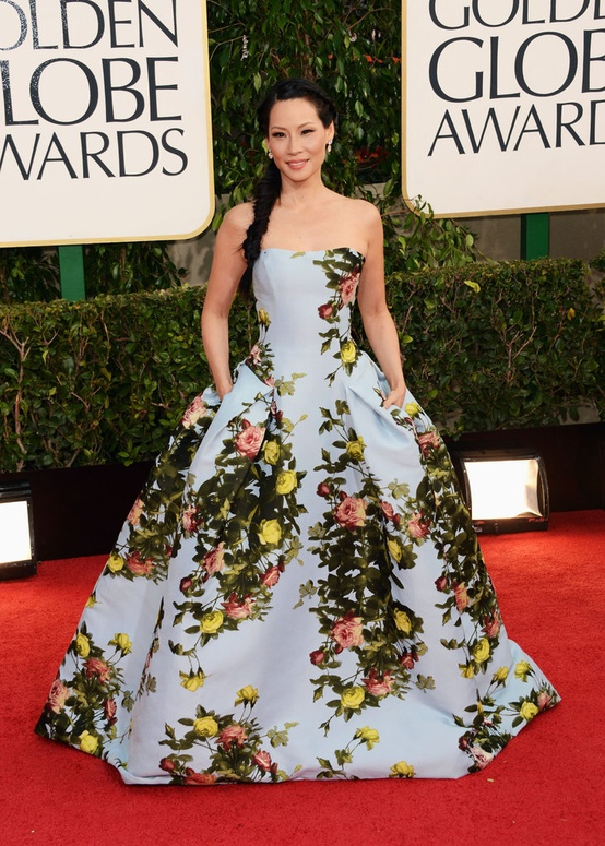 Lucy Liu in Carolina Herrera ball gown at 2013 Golden Globes
