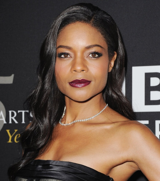 holiday makeup look by Naomie Harris: classic Hollywood hair, champagne eye shadow and dark berry lips
