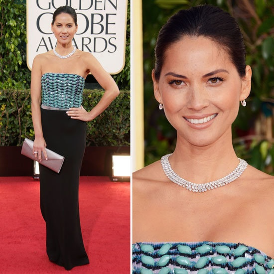 Olivia Munn in Giorgio Armani at the 2013 Golden Globes