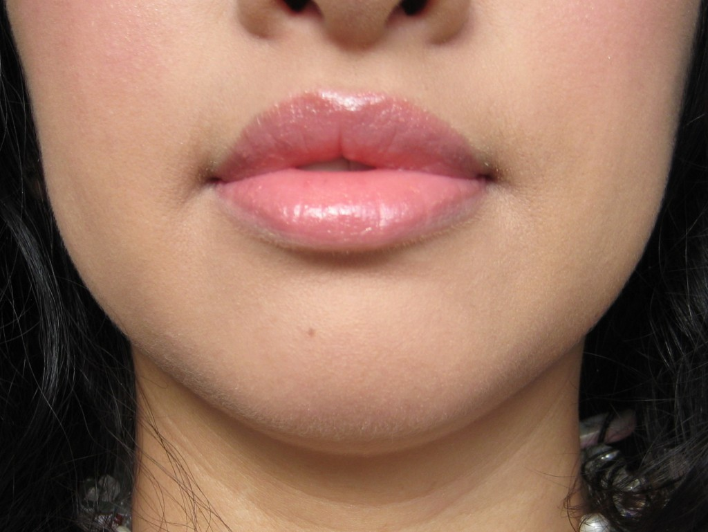 Jenn wearing Revlon ColorBurst Lip Butter in Peach Parfait