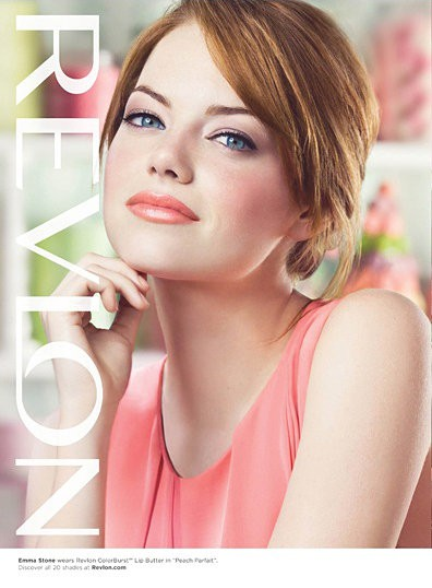 Revlon ad with Emma Stone for ColorBurst Lip Butter in Peach Parfait