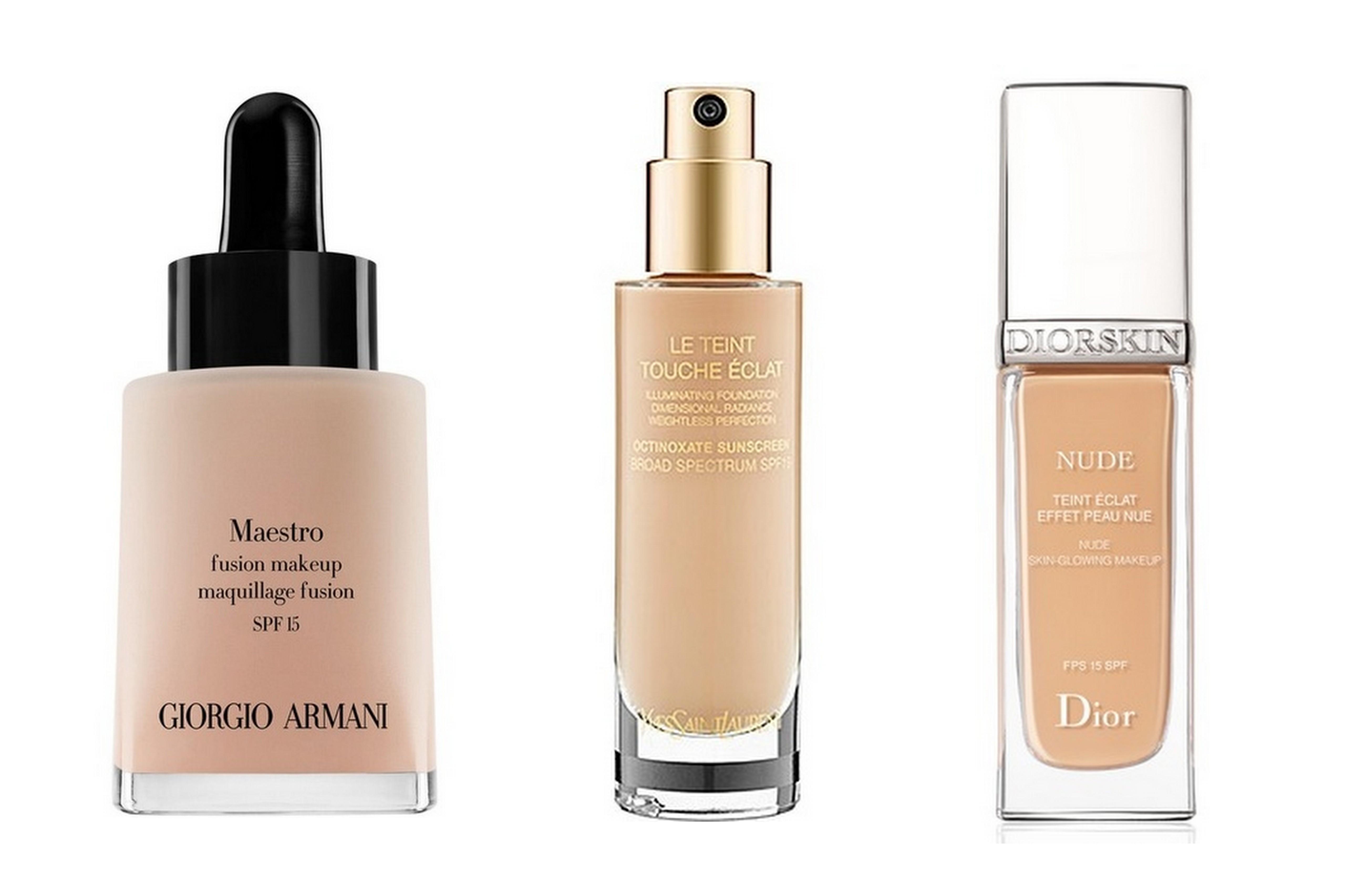 Fall 2012 foundations - Giorgio Armani Maestro Fusion Makeup, YSL Le Teint Touche Eclat, Dior Diorskin Nude Fluid Foundation