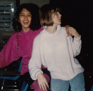 Jenn in the 8th grade, wearing fuchsia tights