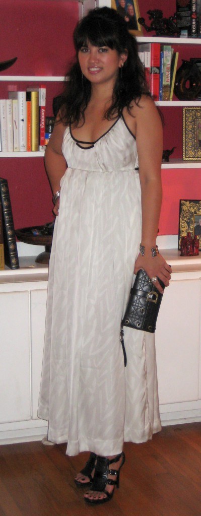 Jenn wearing Gap cream-colored maxi dress, finished look