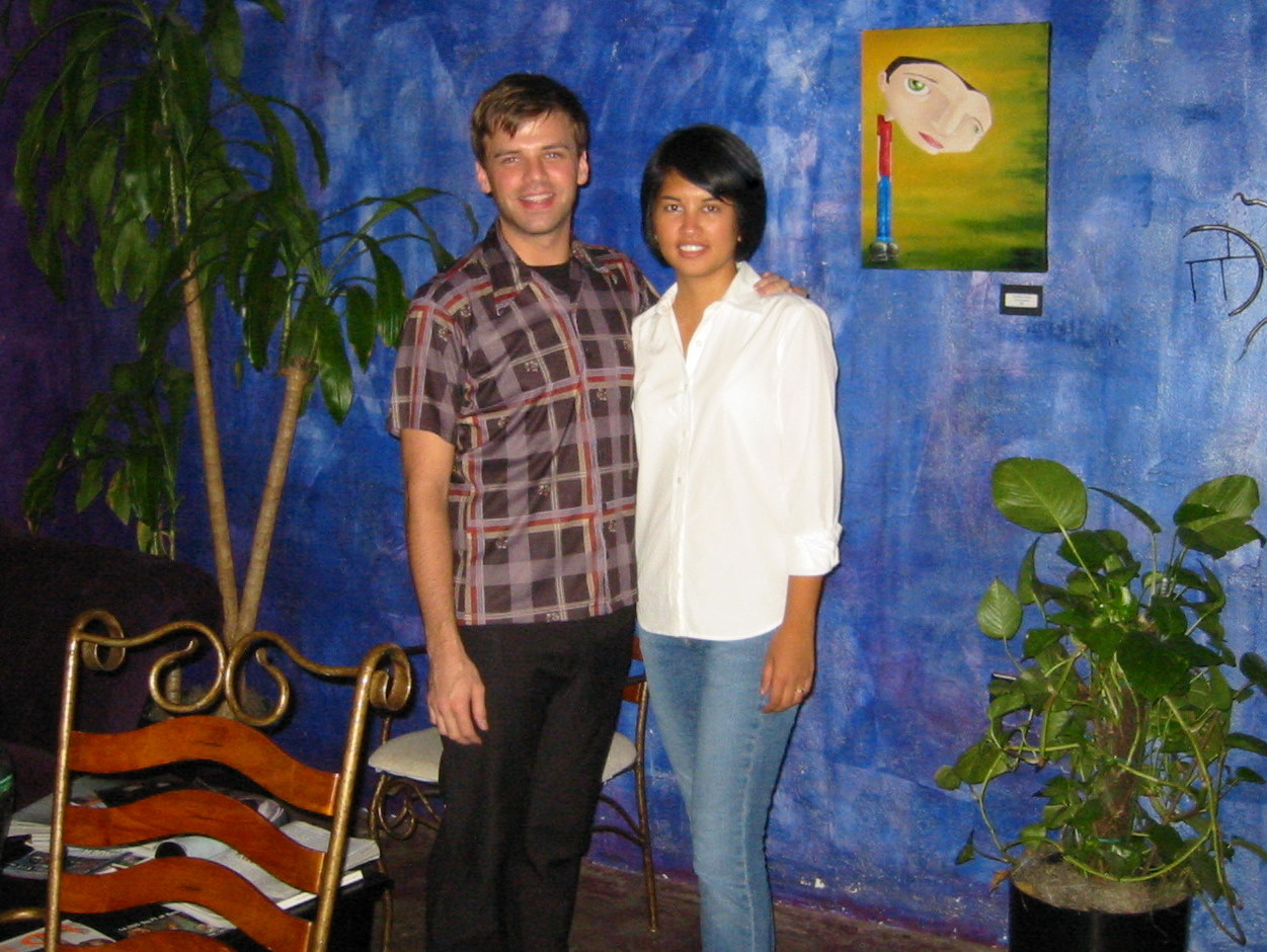 Jenn with hairstylist Mark at Wet Salon in 2003
