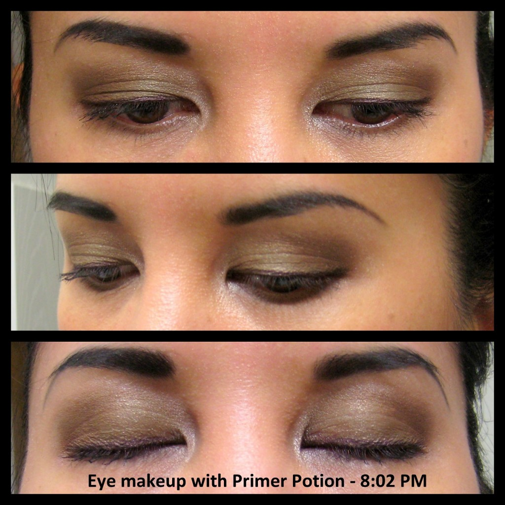 Jenn wearing eyeshadow using Urban Decay Eyeshadow Primer Potion, 8 hours later