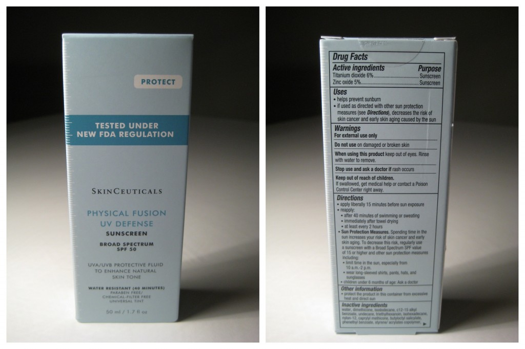 Skinceuticals Physical Fusion UV Defense box, front and back