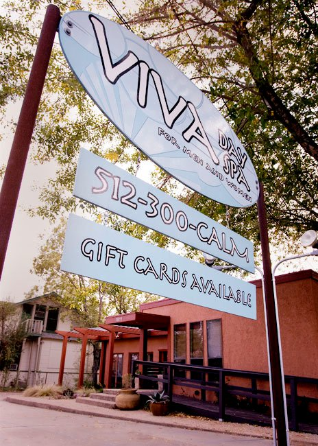 Viva Day Spa on 35th Street in Austin, street sign