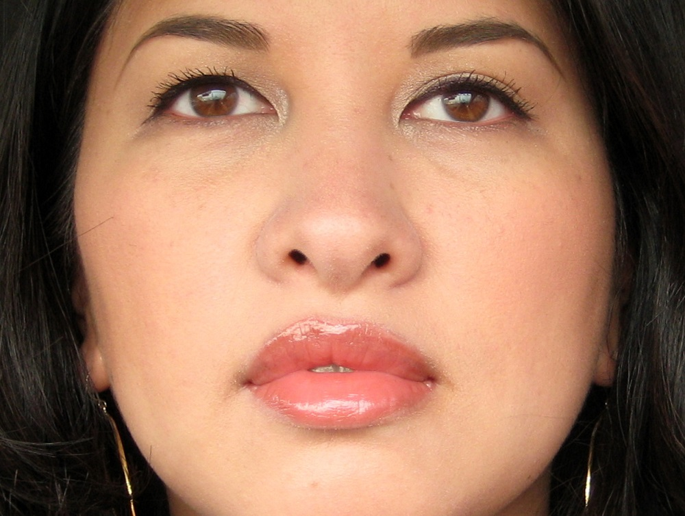 jenn wearing Almay Color + Care Liquid Lip Balm in Truffle Kiss