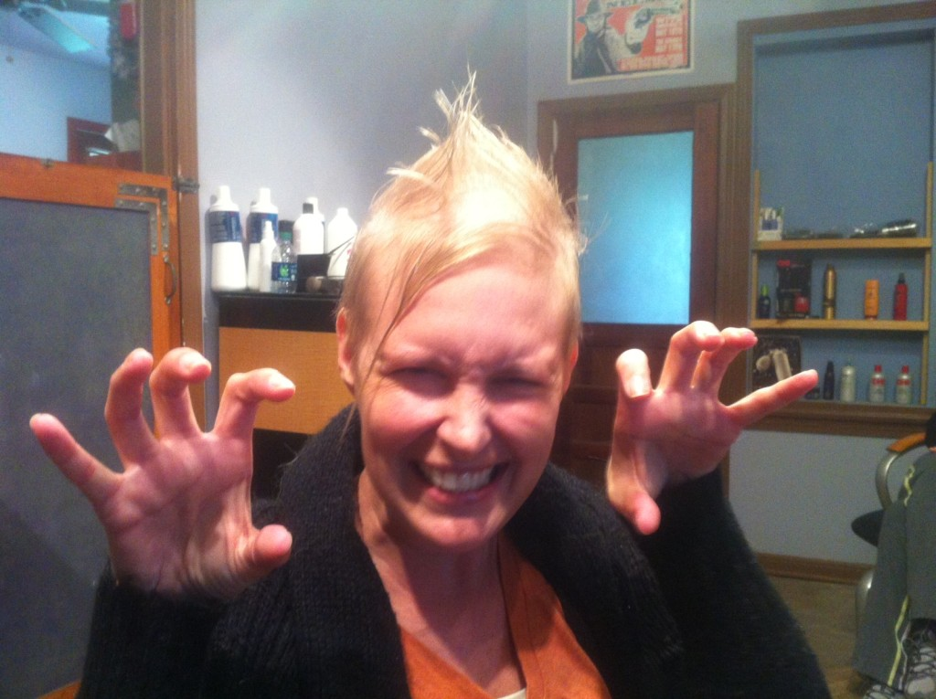 Mary Beth with a platinum blonde mohawk, post-chemo