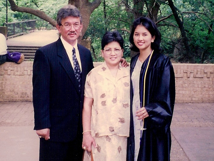 With my parents, May 1998 graduation from UT Austin - my mom was 48 and has only faint hints of gray