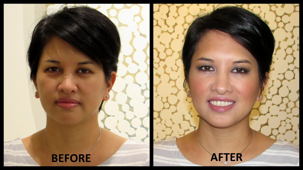 before and after of Jenn from Estee Lauder makeover by Victor Henao