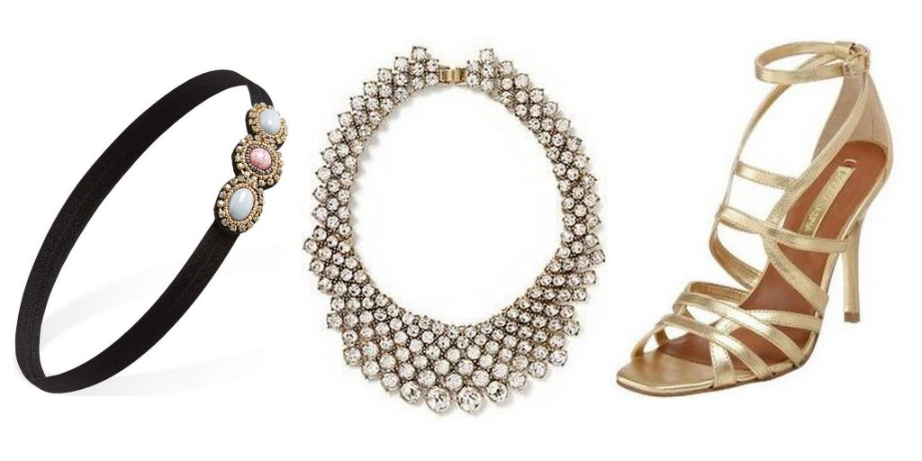 accessories for a night at the opera -- forever 21 headband, banana republic crystal collar necklace, bcbg gold strappy sandals