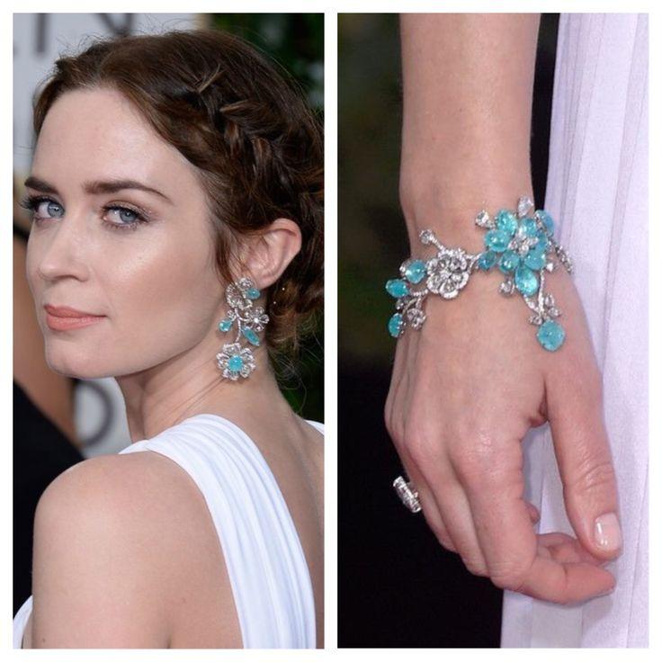 2015 Golden Globes, Emily Blunt in Lorraine Schwartz jewelry