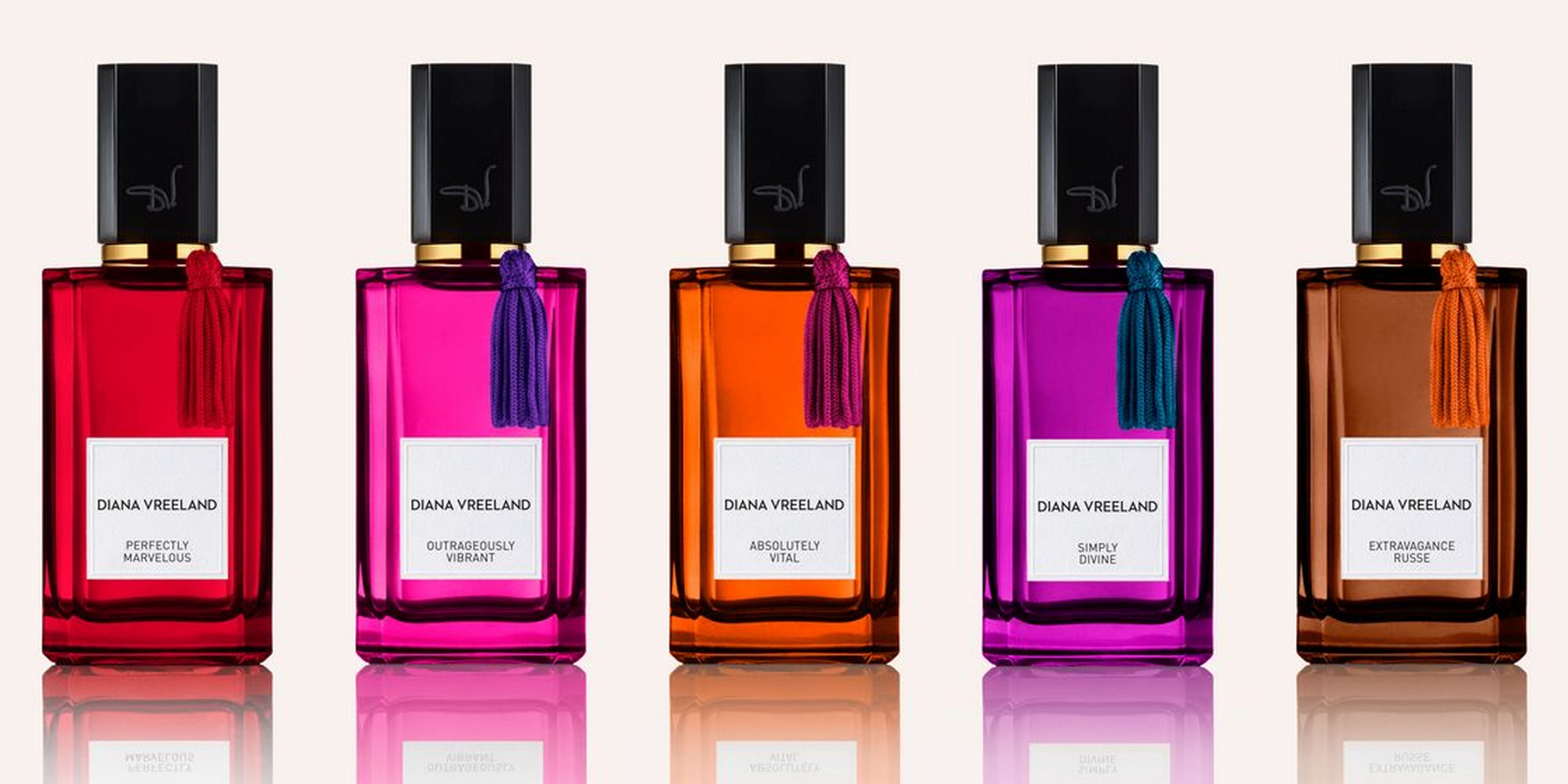 bottles of Diana Vreeland fragrance: Absolutely Vital, Extravagance Russe, Perfectly Marvelous, Simply Divine, Outrageously Vibrant