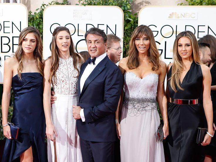 Sylvester Stallone, wife Jennifer Flavin, daughters Sophia, Sistene, Scarlet, Golden Globes 2016