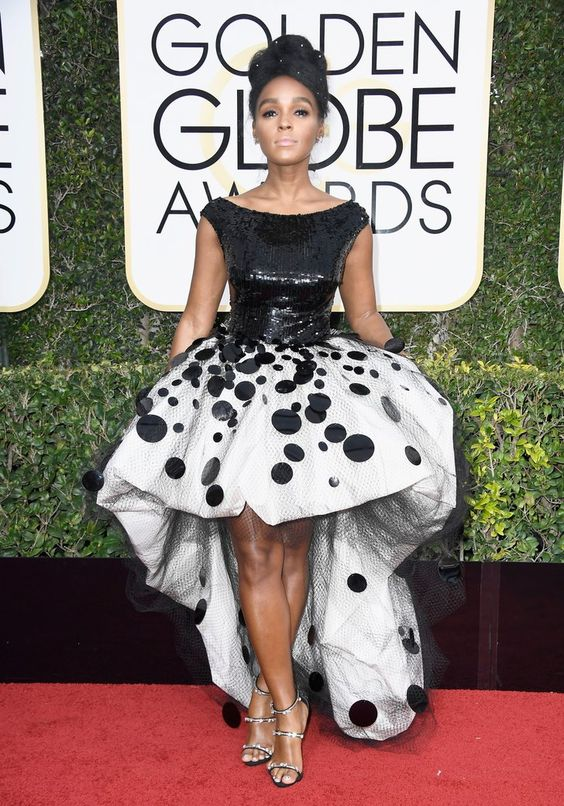 Janelle Monae in custom Armani Prive at 2017 Golden Globes