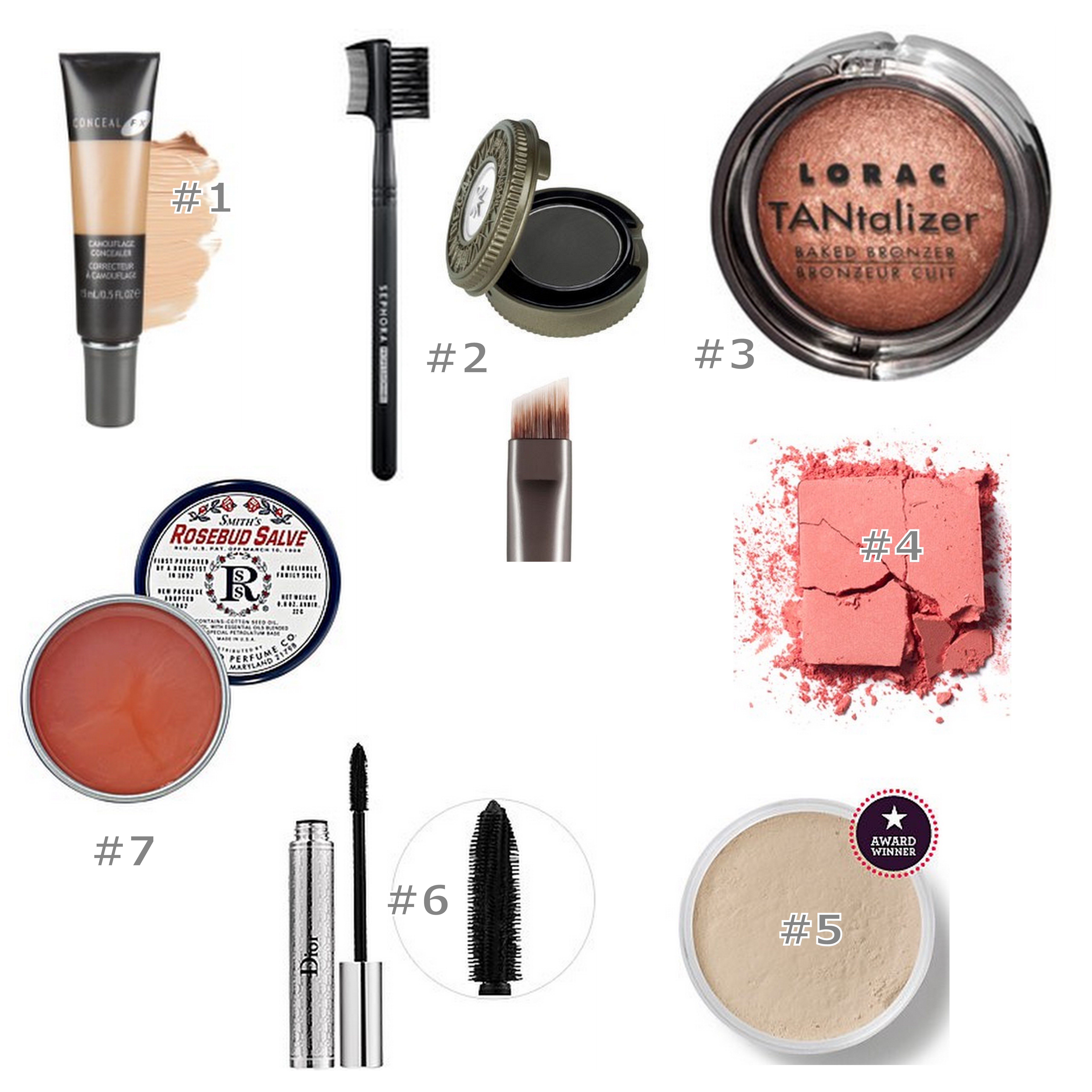 collage of five-minute face make-up products