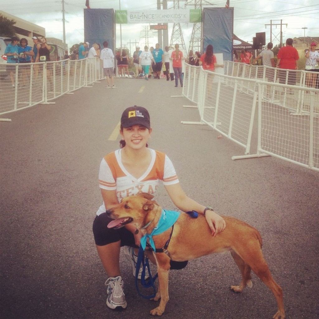 Jenn and Dylan at the finish line for the NOCC 5K, August 2012