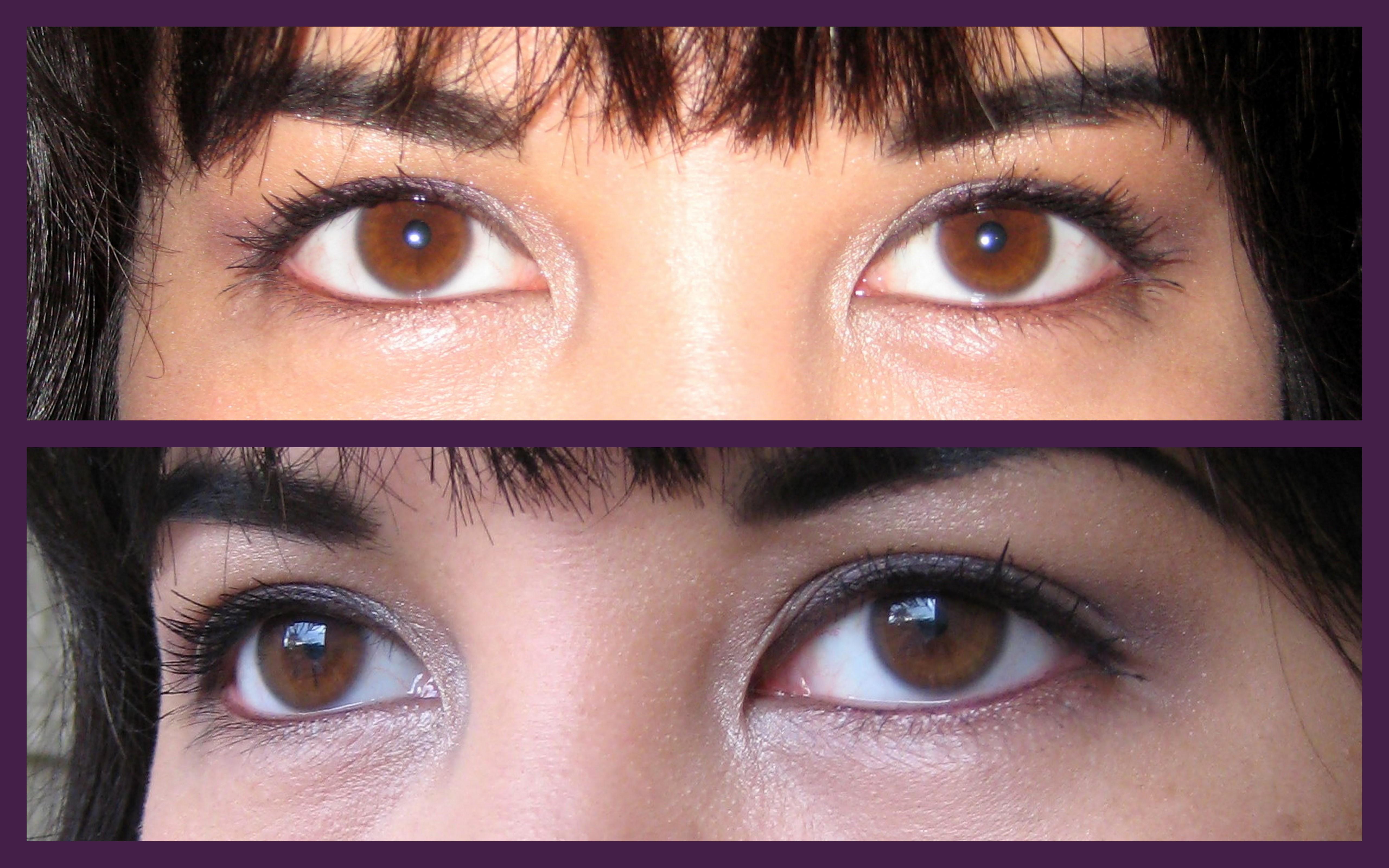 Two close-up photos of Jenn wearing Urban Decay Eye Pencil in Rockstar