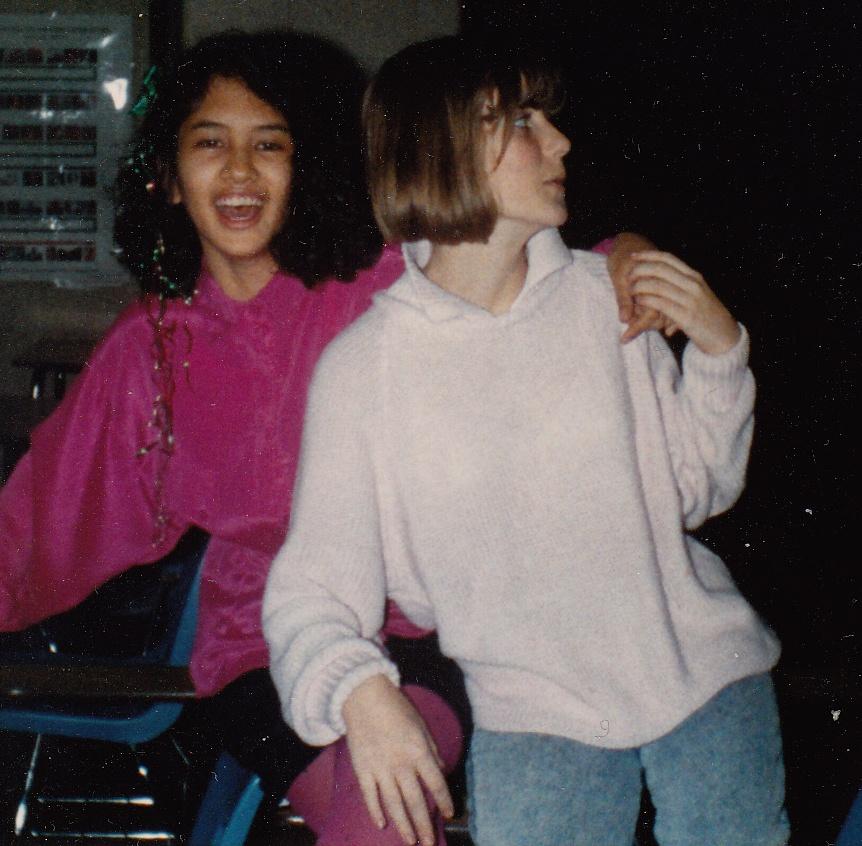 Jenn in the 8th grade, wearing fuchsia tights